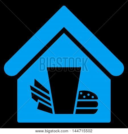 Fastfood Cafe icon. Glyph style is flat iconic symbol, blue color, black background.