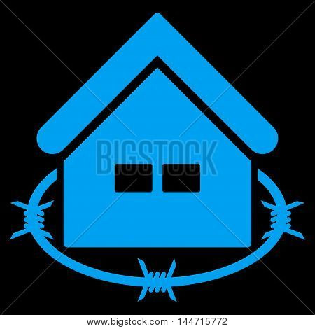 Prison Building icon. Glyph style is flat iconic symbol, blue color, black background.