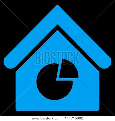 Realty Pie Chart icon. Glyph style is flat iconic symbol, blue color, black background.