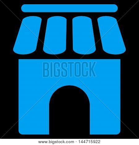 Shop Building icon. Glyph style is flat iconic symbol, blue color, black background.