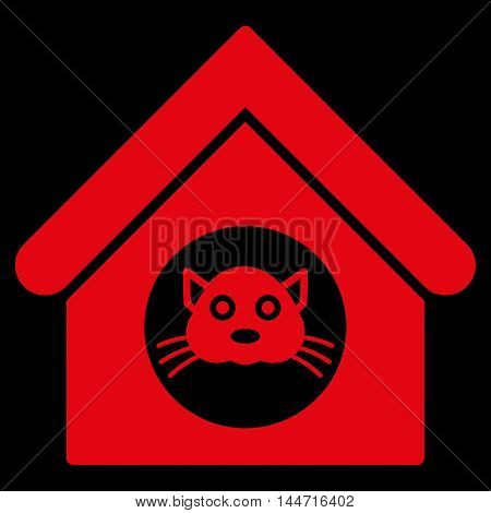 Cat House icon. Glyph style is flat iconic symbol, red color, black background.