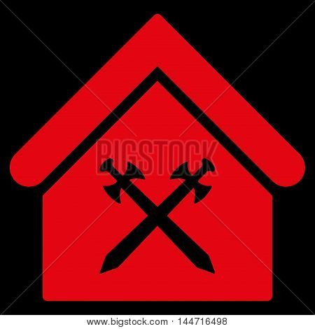 Guard Office icon. Glyph style is flat iconic symbol, red color, black background.