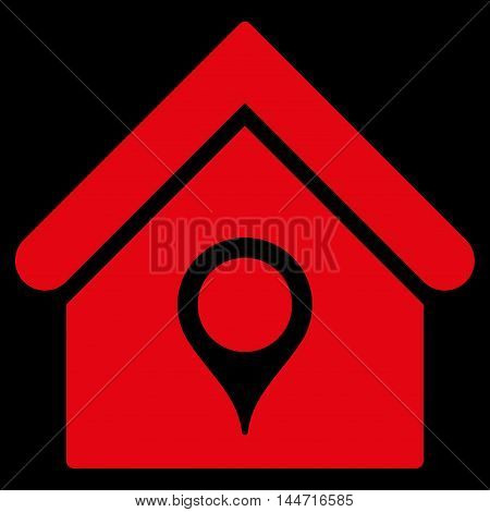 House Location icon. Glyph style is flat iconic symbol, red color, black background.