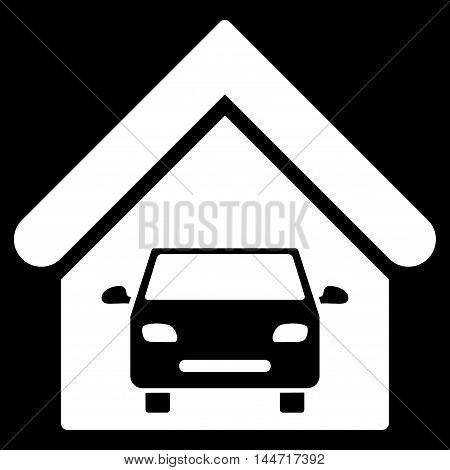 Car Garage icon. Glyph style is flat iconic symbol, white color, black background.