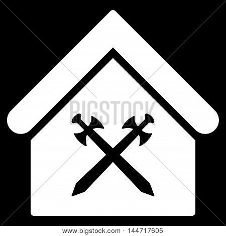 Guard Office icon. Glyph style is flat iconic symbol, white color, black background.