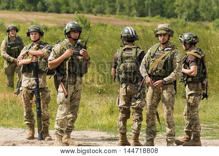 Lviv Ukraine - July 6 2016: Ukrainian-American joint military exercises near the Lviv rapid trident 2016.Ukrainian commandos after training fight Lviv.Ukraine.