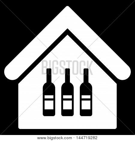 Wine Bar icon. Glyph style is flat iconic symbol, white color, black background.