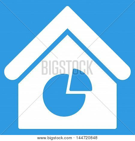 Realty Pie Chart icon. Glyph style is flat iconic symbol, white color, blue background.