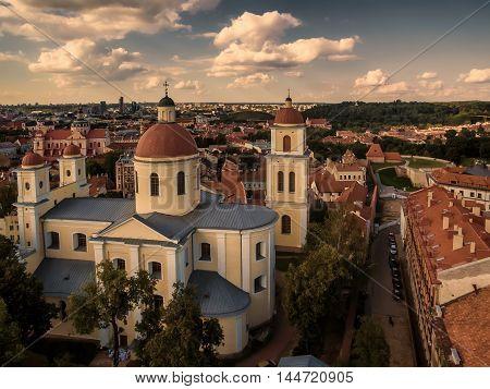 Aerial top view from UAV. Old Town in Vilnius, Lithuania: Orthodox Church and monastery of the Holy Spirit, Lithuanian: Staciatikiu sv. Dvasios cerkve ir vienuolynas