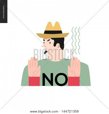 Refusing man. Flat vector cartoon illustration of a man wearing a yellow hat, t-shirt with a sign NO and beard, refusing of something, showing two palms,