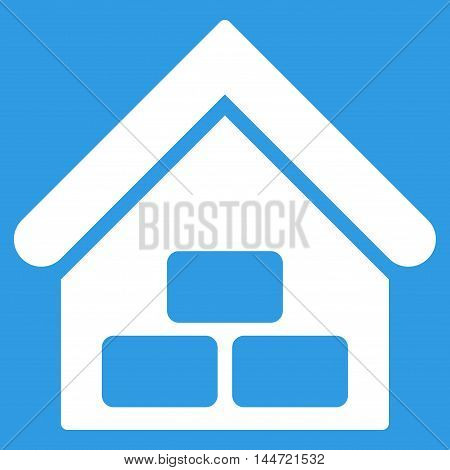 Warehouse icon. Glyph style is flat iconic symbol, white color, blue background.
