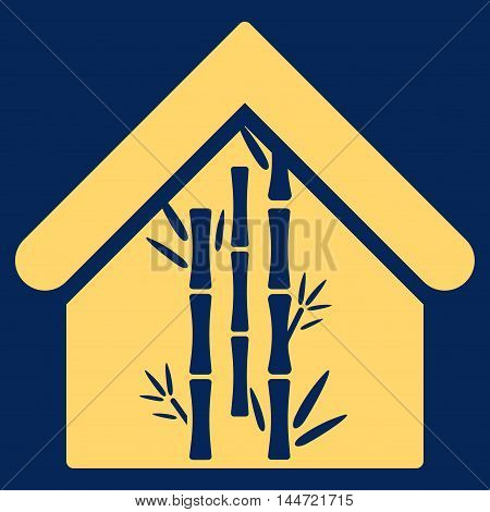 Bamboo House icon. Glyph style is flat iconic symbol, yellow color, blue background.