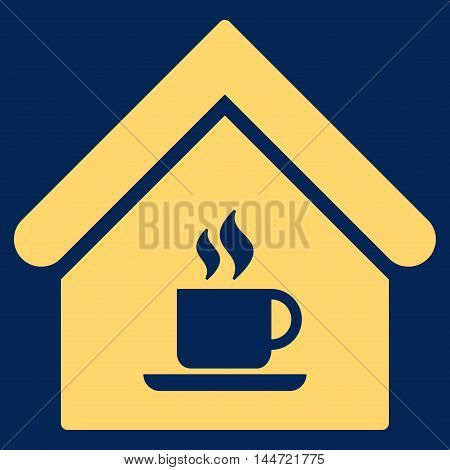 Cafe House icon. Glyph style is flat iconic symbol, yellow color, blue background.