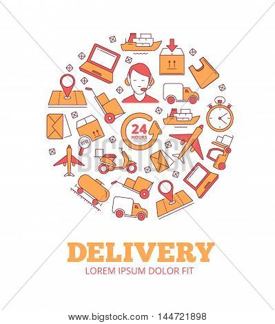 vector logo of logistics and delivery or fast Transportation. Monochrome illustrations in circle shape isolate on white background. Pictures of monoline style with place for your text