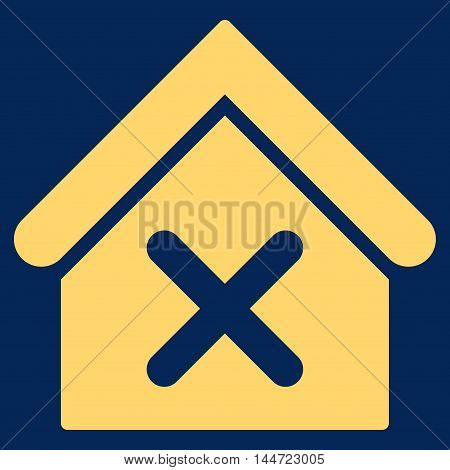 Wrong House icon. Glyph style is flat iconic symbol, yellow color, blue background.