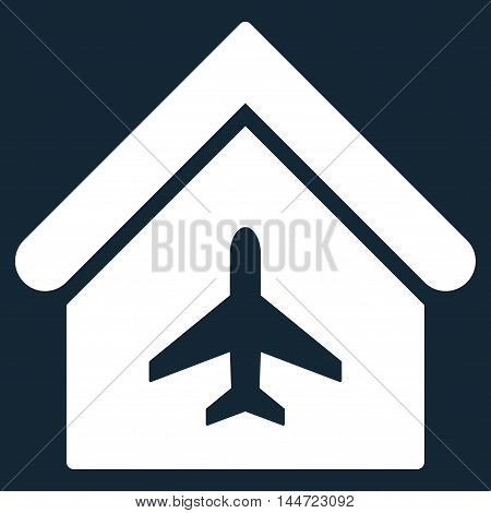 Aircraft Hangar icon. Glyph style is flat iconic symbol, white color, dark blue background.