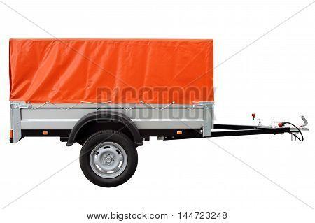 Orange car trailer isolated on white background.