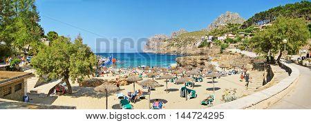 Cala Molins, Beach Panorama In Cala Sant Vicenc, Majorca
