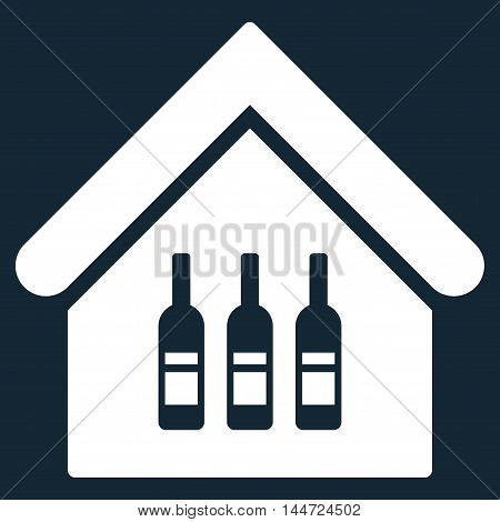 Wine Bar icon. Glyph style is flat iconic symbol, white color, dark blue background.
