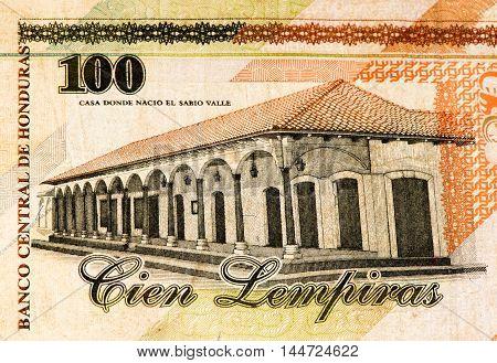 100 lempiras bank note. Lempira is the national currency of Honduras