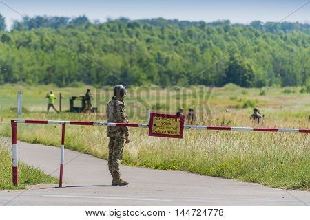 Lviv Ukraine - July 6 2016: Ukrainian-American joint military exercises near the Lviv rapid trident 2016. Ukrainian paratrooper guard post on the military training ground Lviv.Ukraine.