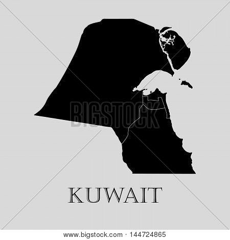 Black Kuwait map on light grey background. Black Kuwait map - vector illustration.