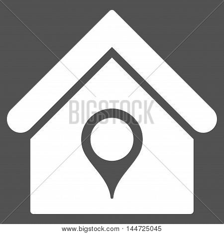 House Location icon. Glyph style is flat iconic symbol, white color, gray background.