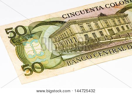 50 Costa Rican colones bank note. Colones is the national currency of Costa Rica