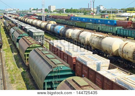 29.08.2016.Byelorussia.Gomel.Railway station with freight trains.Triage area of the city.