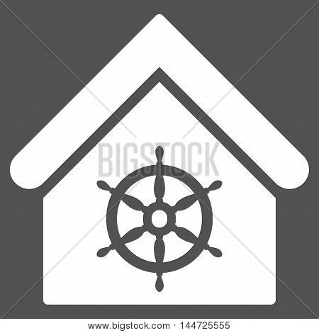 Steering Wheel House icon. Glyph style is flat iconic symbol, white color, gray background.