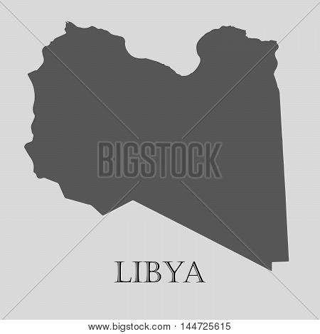 Simple gray Libya map on light grey background. Gray Libya map - vector illustration.