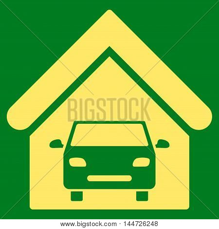 Car Garage icon. Glyph style is flat iconic symbol, yellow color, green background.