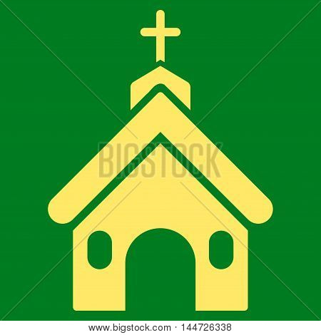 Church icon. Glyph style is flat iconic symbol, yellow color, green background.