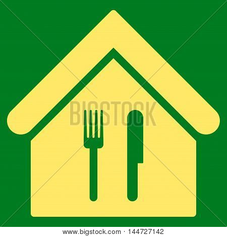 Restaurant icon. Glyph style is flat iconic symbol, yellow color, green background.
