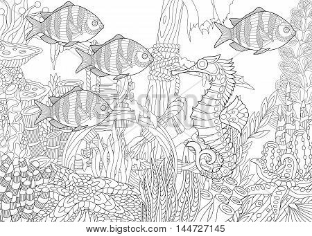 Stylized composition of tropical fish seahorse underwater seaweed corals and starfish. Freehand sketch for adult anti stress coloring book page with doodle and zentangle elements.