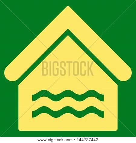 Water Pool icon. Glyph style is flat iconic symbol, yellow color, green background.