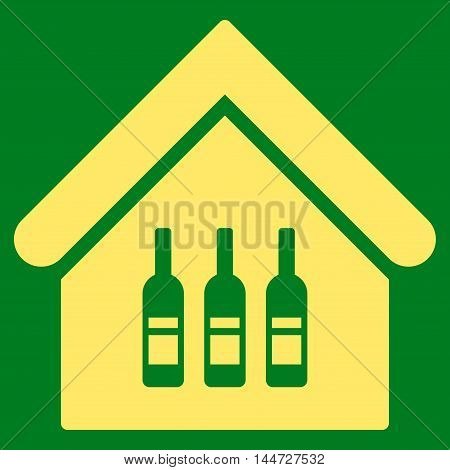 Wine Bar icon. Glyph style is flat iconic symbol, yellow color, green background.