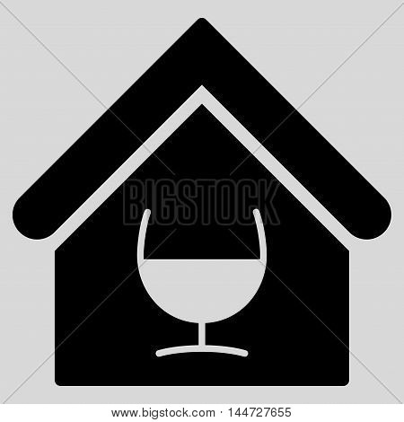Alcohol Bar icon. Glyph style is flat iconic symbol, black color, light gray background.