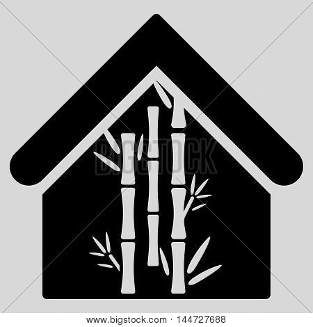 Bamboo House icon. Glyph style is flat iconic symbol, black color, light gray background.
