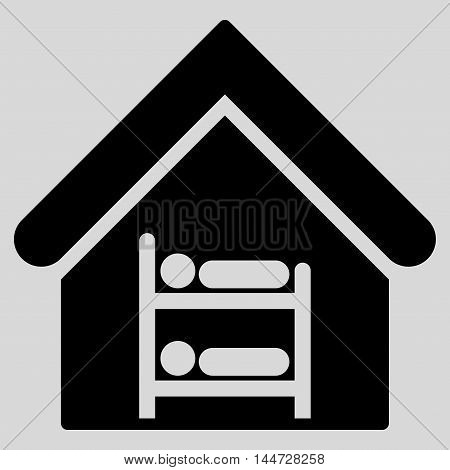 Hostel icon. Glyph style is flat iconic symbol, black color, light gray background.