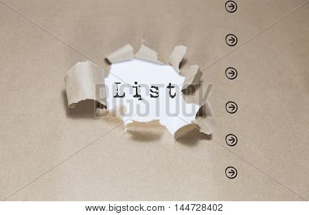 Torn Paper with text list, Brown torn paper