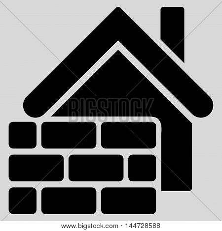 Realty Brick Wall icon. Glyph style is flat iconic symbol, black color, light gray background.
