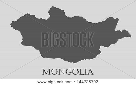Gray Mongolia map on light grey background. Gray Mongolia map - vector illustration.