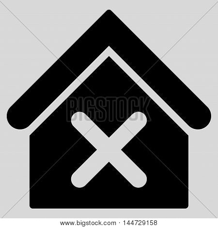 Wrong House icon. Glyph style is flat iconic symbol, black color, light gray background.