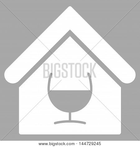 Alcohol Bar icon. Glyph style is flat iconic symbol, white color, silver background.