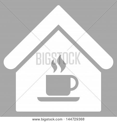 Cafe House icon. Glyph style is flat iconic symbol, white color, silver background.