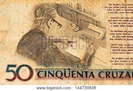 50 Brasilian cruzados novos bank note. Cruados is the former currency of Brasil