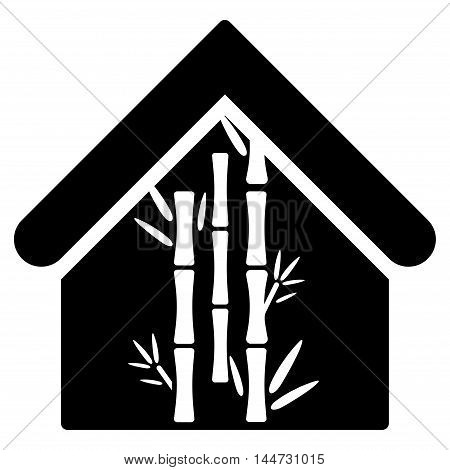 Bamboo House icon. Glyph style is flat iconic symbol, black color, white background.