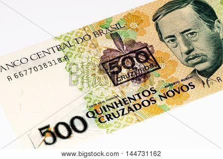 500 Brasilian cruzados novos bank note. Cruados is the former currency of Brasil