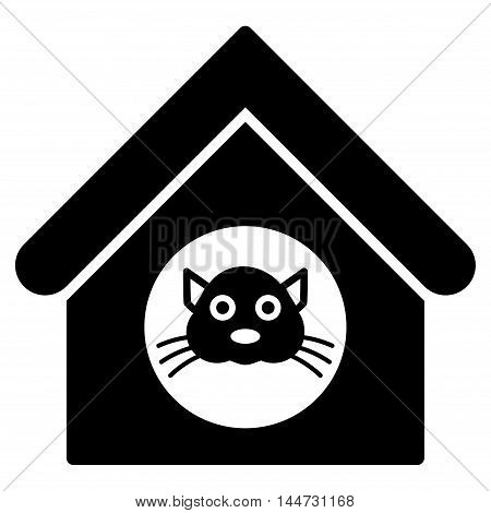 Cat House icon. Glyph style is flat iconic symbol, black color, white background.